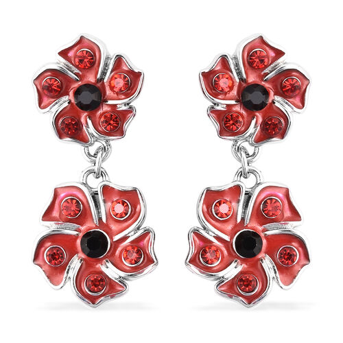 TJC Poppy Design - Black and Red Austrian Crystal Enamelled Earrings (with Push Back) in Silver Tone