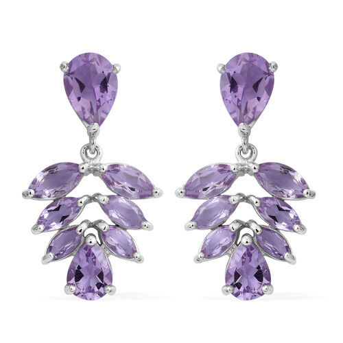 Rose De France Amethyst (Pear) Earrings (with Push Back) in Rhodium Plated Sterling Silver 9.740 Ct.