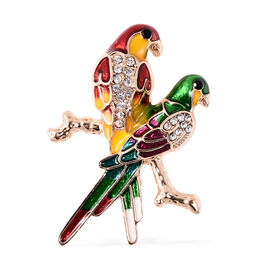Black and White Austrian Crystal Enamelled Love Bird Brooch in Gold Tone