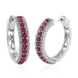 African Ruby (Rnd), Natural Cambodian Zircon Hoop Earrings (with Clasp Lock) in Platinum Overlay Ste