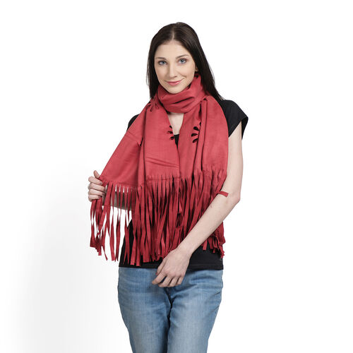 Italian Designer Inspired-Laser Cut Pattern Red Colour Scarf with Fringes (Size 120x70 Cm)