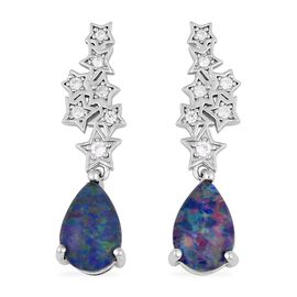 Boulder Opal and White Zircon Drop Earrings in Rhodium Plated Sterling Silver