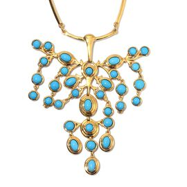 12 Carat Arizona Sleeping Beauty Turquoise Draping Necklace in Gold Plated Sterling Silver 18 Inch