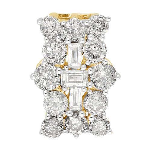 9K Yellow Gold SGL Certified Natural Diamond (I3/G-H) Boat Cluster Pendant 1.00 Ct.