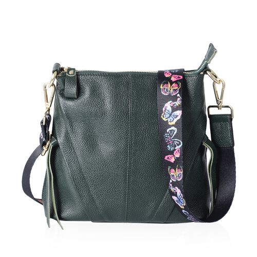 Super Soft 100% Genuine Leather Green Colour Cross Body Bag with Adjustable and Removable Butterfly