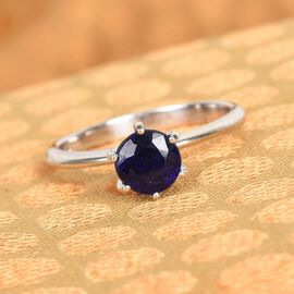 Masoala Sapphire Solitaire Ring in Platinum Overlay Sterling Silver 1.25 Ct.