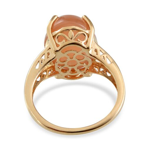 Mitiyagoda Peach Moonstone (Ovl) Solitaire Ring in Yellow Gold Overlay Sterling Silver 9.500 Ct.