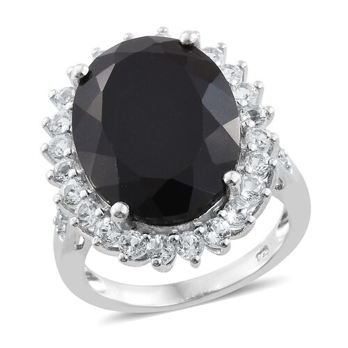 Black Tourmaline (Ovl 18.30 Ct), White Topaz Ring in Platinum Overlay Sterling Silver 20.500 Ct.