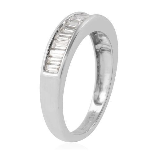 ILIANA 18K White Gold SGL Certified Diamond SI/G-H Half Eternity Band Ring 1.00 Ct.