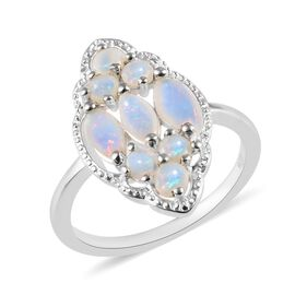 1 Carat Natural Australian Opal Cluster Ring in Sterling Silver