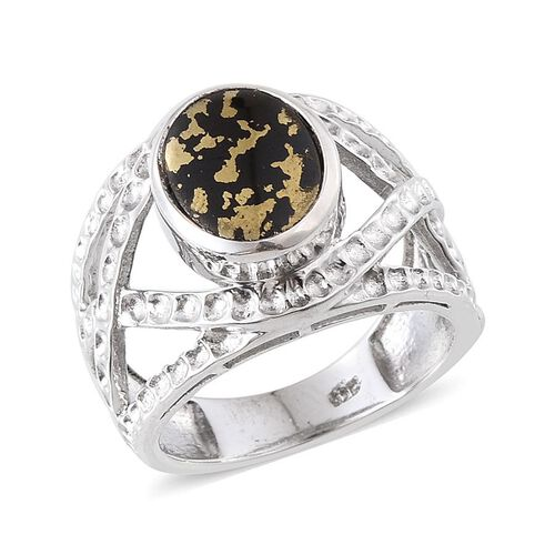 Goldenite (Ovl) Solitaire Ring in Platinum Overlay Sterling Silver 2.000 Ct. Silver wt 5.41 Gms.