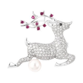 Simulated Multi Colour Gemstone and White Shell Pearl Reindeer Brooch or Pendant in Silver Tone