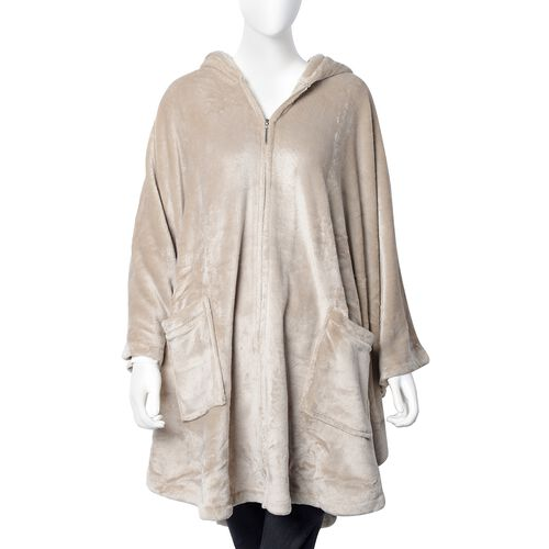 Extremely Soft Silk Touch Velour Lounge Cosy Gown with Slippers in  Dark Taupe Colour.