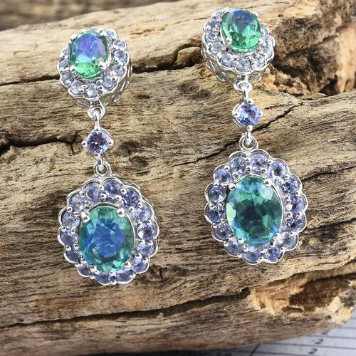 Peacock Quartz (Ovl), Tanzanite Dangling Earrings (with Push Back) in Platinum Overlay Sterling Silver 7.500 Ct. Silver wt 6.59 Gms.