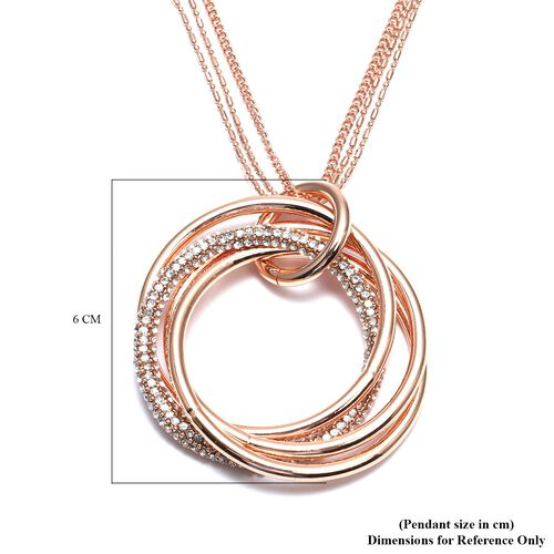 White Austrian Crystal Entwined Circles Pendant with Chain (Size 29 with 2 inch Extender) in Rose Gold Tone