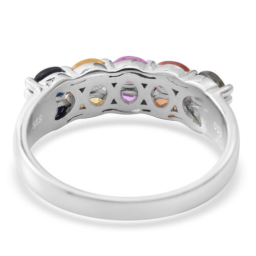 Rainbow Sapphire (Ovl) Ring in Rhodium Plated Sterling Silver 2.250 Ct.
