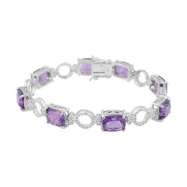 23.66 Ct Amethyst and Zircon Line Bracelet in Rhodium Plated Silver 13.60 grams 8 Inch