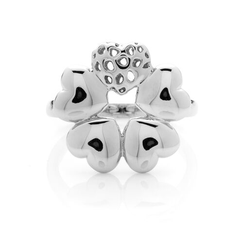 RACHEL GALLEY Rhodium Plated Sterling Silver Heart Flower Ring, Silver wt 5.75 Gms.