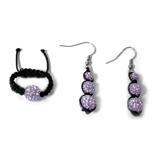 Purple Austrian Crystal Ring (Adjustable) and Hook Earrings in Stainless Steel