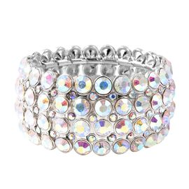 Simulated Mystic White Austrian Crystal Tennis Bracelet in Silver Plated 6.5 Inch Stretchable