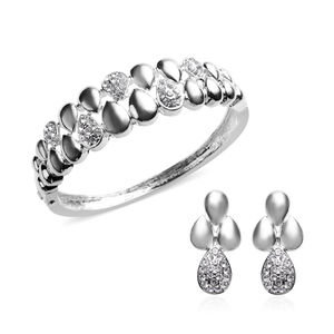 '2 Piece Set - White Austrian Crystal Bangle (size 7) And Dangle Earrings (with Push Back) In Silver Tone