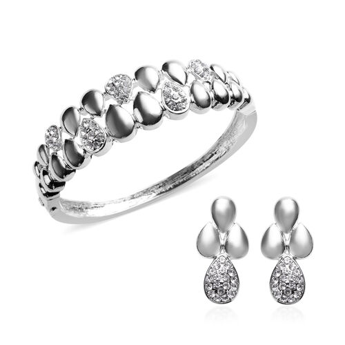 2 Piece Set - White Austrian Crystal Bangle (Size 7) and Dangle Earrings (with Push Back) in Silver
