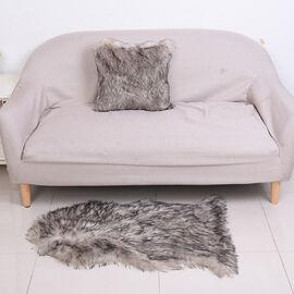 2 Piece Set - Faux Fur Small Carpet (100x60cm) with Cushion (45x45cm-1Pc) - Grey
