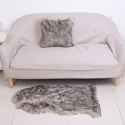 2 Piece Set - Faux Fur Small Carpet (100x60cm) with Cushion (45x45cm-1Pc) - Grey
