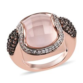 GP 13.25 Ct Rose Quartz and Multi Gemstone Halo Ring in Rose Gold Plated Silver 7.50 grams