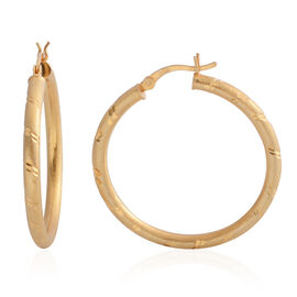 One Time Deal- Yellow Gold Overlay Sterling Silver Hoop Earrings (with Clasp Lock), Silver wt 4.00 Gms.