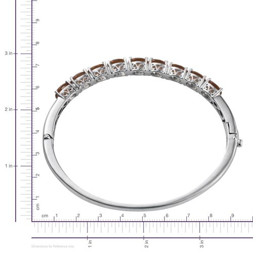 Alexite (Ovl) Bangle (Size 7.5) in ION Plated Platinum Bond 10.750 Ct.