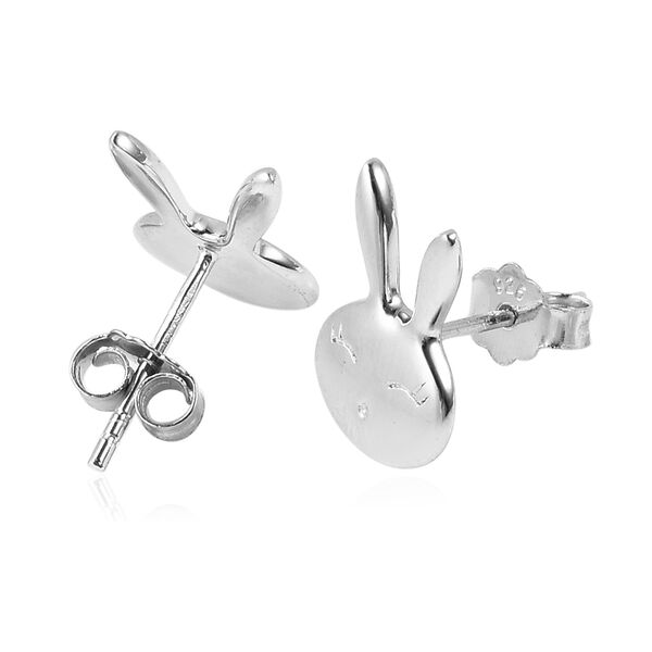 Bunny Earrings in Rhodium Overlay Sterling Silver