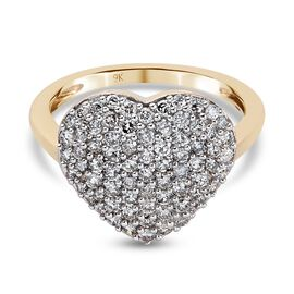 9K Yellow Gold SGL Certified Diamond (I3/G-H) Heart Cluster Ring 1.00 Ct.