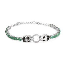 AA Kagem Zambian Emerald (Ovl), Boi Ploi Black Spinel and Natural Cambodian Zircon Panther Head Bracelet (Size 7.5) in Platinum Overlay Sterling Silver 8.000 Ct. Silver wt 12.15 Gms.