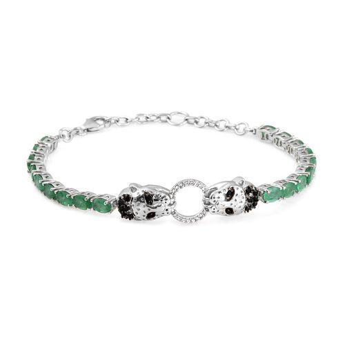 AA Kagem Zambian Emerald (Ovl), Boi Ploi Black Spinel and Natural Cambodian Zircon Panther Head Brac