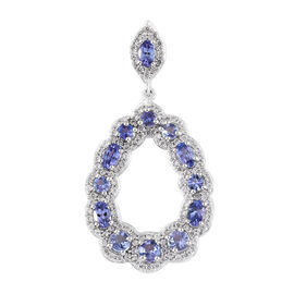 Tanzanite (Rnd), Natural Cambodian Zircon Drop Pendant in Platinum Overlay Sterling Silver 4.250 Ct, Silver wt 5.30 Gms.