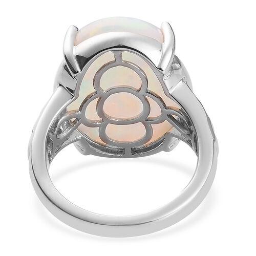 RHAPSODY 950 Platinum AAAA Ethiopian Welo Opal (Ovl 20x15mm) and Diamond (VS/E-F) Ring 11.50 Ct., Platinum wt 10.00 Gms.