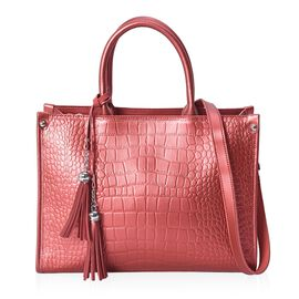 100% Genuine Leather Croc Embossed Tote Bag with Detachable Shoulder Strap (Size 34x14x25 Cm) - Red