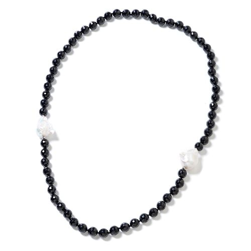 Black Tourmaline (Rnd), White Baroque Pearl Necklace (Size 30) in Rhodium Overlay Sterling Silver 653.000 Ct.