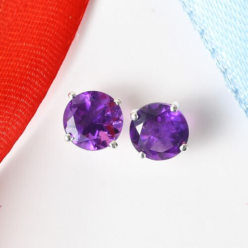 Amethyst Solitaire Stud Earrings (with Push Back) in Sterling Silver 2.60 Ct.