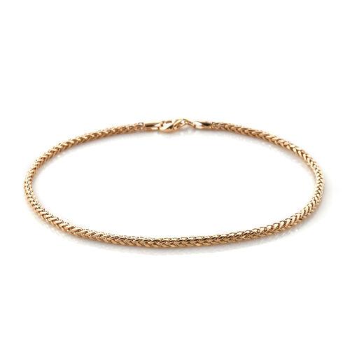 Royal Bali Collection 9K Yellow Gold Wheat Bracelet (Size 7)