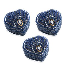 Set of 3 - Blue Colour Heart Shaped Beaded Box Candles in Exotic Mango Fragrance (Size 7.6x7.6x3.8 C
