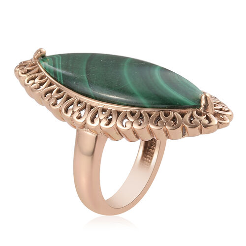 Designer Inspired- Malachite Solitaire Ring in Bronze Plated 20.00 Ct.