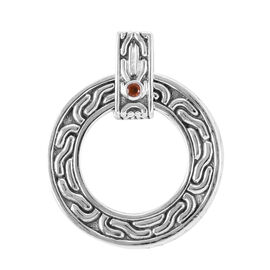 Royal Bali Collection Madeira Citrine (Rnd) Circle Pendant in Sterling Silver, Silver wt 7.40 Gms.