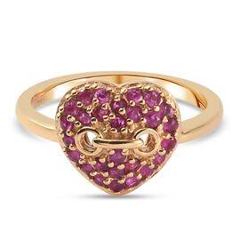Burmese Ruby Ring in 14K Gold Overlay Sterling Silver