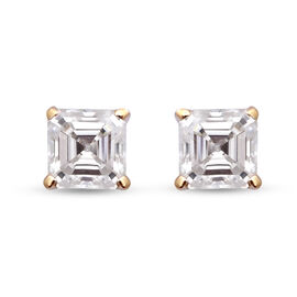 9K Yellow Gold Very Rare Moissanite Asscher Cut Earrings (with Push Back) 1.38 Ct.