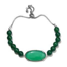 22.75 Ct Green Onyx Beaded Adjustable Bracelet in Stainless Steel 9.5 Inch