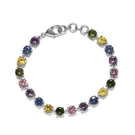 One Time Deal - Simulated Multi Colour Diamond Tennis Bracelet (Size 7.5)