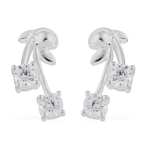J Francis - Sterling Silver (Rnd) Leaf Earrings (with Push Back) Made with SWAROVSKI ZIRCONIA