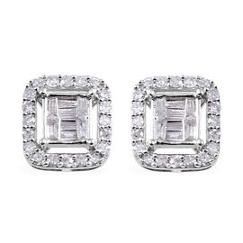 9K White Gold SGL Certified Diamond (Rnd and Bgt) (I3/G-H) Stud Earrings (with Push Back) 0.50 Ct.